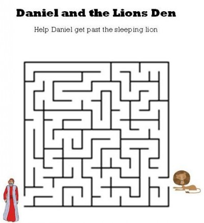 Kids bible worksheets free printable daniel and the lions den maze