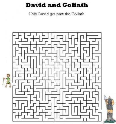 Kids Bible Worksheets Free Printable David And Goliath Maze