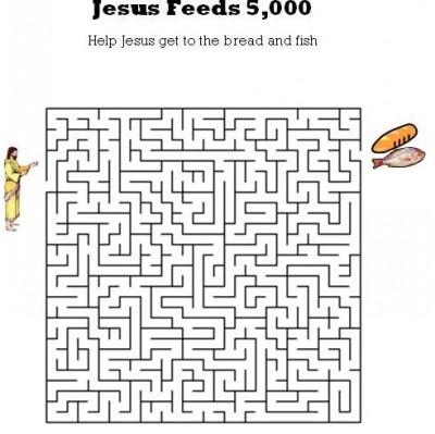 Kids Bible Worksheets Free Printable Jesus Feeds 5000 Maze