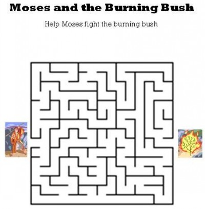 Kids Bible Worksheets Moses And The Burning Bush Maze