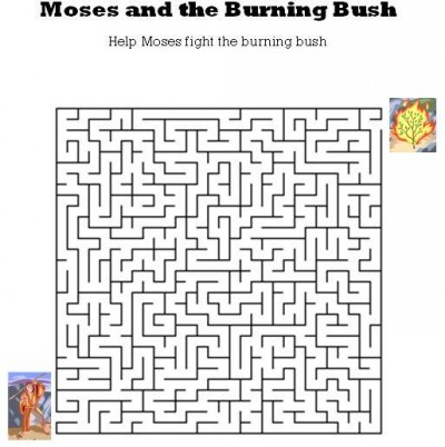 Kids Bible Worksheets Free Printable Moses And The Burning Bush Maze
