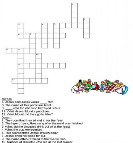 picture about Bible Crossword Puzzles Printable With Answers identify Youngsters Bible Worksheets-Free of charge, Printable The Past Evening meal